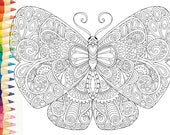 HELLO ANGEL Beautiful Butterflies 2 - Colouring Page - Angelea Van Dam, meditation relaxation calm whimsical inspire illustration zentangle