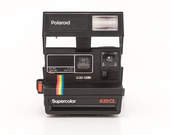Polaroid 600 Supercolor 635CL Instant Camera - Black Body Rainbow Stripe - Tested and Working