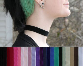 Simple wide velvet choker- Many color choices