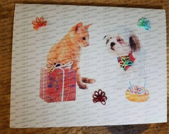 Tatted Notecards - Cat and Dog