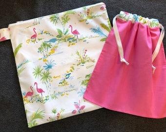 Wet and Dry Bag Set - Pink Flamingos, flamingoes