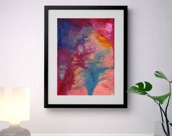 Abstract Art Print, Fluid Art Print, Abstract Painting,Red Pink Blue Yellow, Modern Print, Original Art, Abstract wall Art, Paul Fulton.