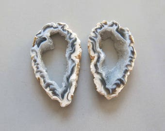 A Pair Natural Druzy Agate Geode Slices C5143