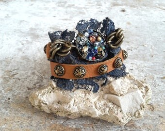 Blue lace boho bracelet, brown wrap bracelet, unique bracelet, boho chic bracelet, studded leather cuff bracelet, wrap leather bracelet