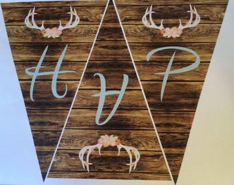 Instant Download for Rustic Woodland Happy Birthday pennants