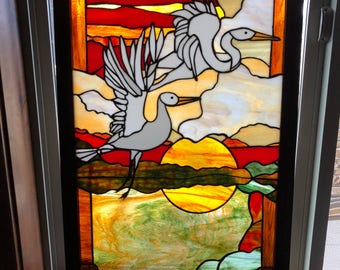 Handmade stain glass and frame