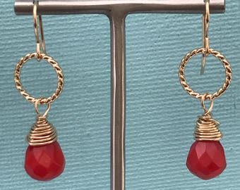 Coral & gold fill earrings, Coral and silver drop earrings, Coral gemstone earrings