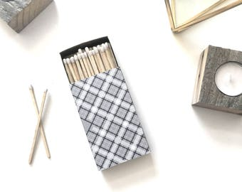 Black & White Large Candle / Cigar Matchbox. Cozy Midcentury Modern Decor. Monochrome Decorative Matches. Classic Plaid. Groomsman Gift.