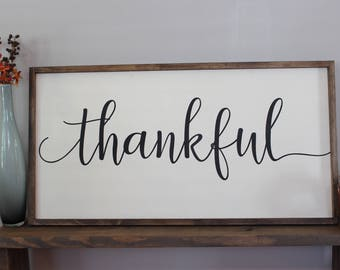 Thankful Wood Sign Oversized Wall Art Dining Room