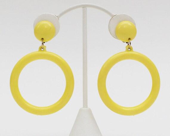 60s Mod Yellow Hoop Earrings - Vintage 1960s Plastic Statement Earrings