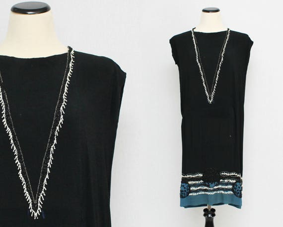 Vintage 1920s Black Beaded Day Dress - Size Medium