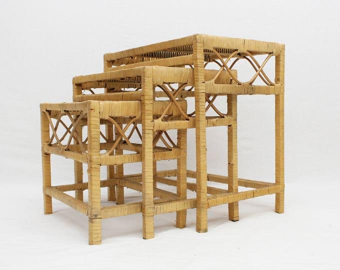 Vintage 1970s Wicker Nesting Tables - Home Decor