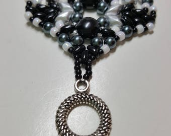 Handwoven Wide beaded bracelet in black and silver