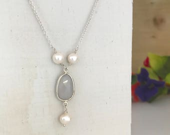 Pearl and Blue Chalcedony Necklace June Birthstone