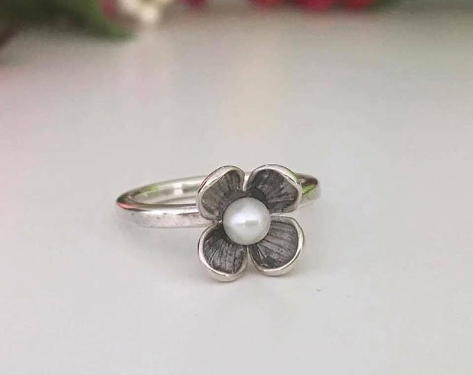 Flower pearl stacking ring sterling silver