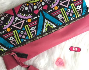 african tribal + pink leather clutch