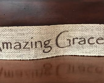 "Primitive Christmas Amazing Grace Wired Burlap Ribbon Banner Ornament Garland 2-1/2"" x 14"""