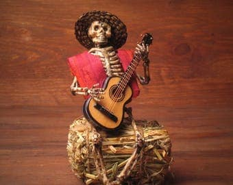 Miniature Skeleton with Guitar for your Dollhouse