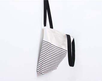 Striped cotton canvas tote bag with pocket