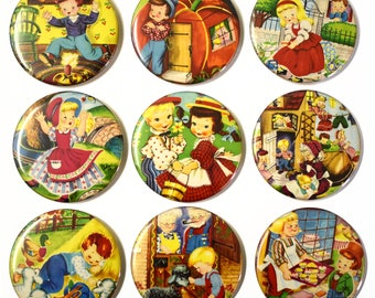 Nursery Rhymes Fridge Magnets Set x9 55mm Retro Children's Stories Fairytales
