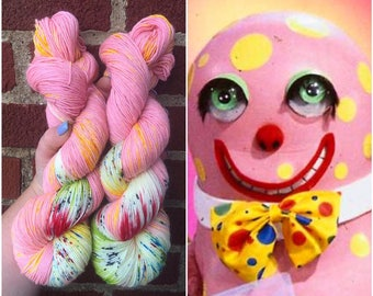Mr. Blobby, sock yarn, speckled yarn, hand dyed yarn, speckled sock yarn, indie dyed yarn, knitter gift, indie dyer, crafter