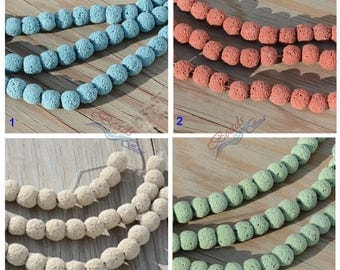 Lava Round Beads 21pcs (10mm) Dyed Off Round Natural Lava Rock Beads Necklace Bracelet Eearing Beads - 8""