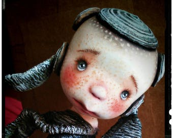 """SALE-Hand made collectible Unique -art doll- OOAK-clay art doll -diorama """"WINDY""""Completely handmade"""