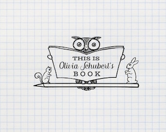 Book Stamp, Owl Stamp, Library Stamp, Ex Libris Custom Stamp, Personalized Stamp, Rubber Stamp, Self Inking Stamp - CN719