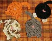 Set of 4 Cat Butt Coasters