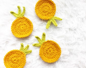 Pineapple Coasters (Set of 4), Knitted Mug Coasters, Knit Coffee Mug Coasters, Coffee Table Coasters, Tea Coasters, Personalized Mug Coaster