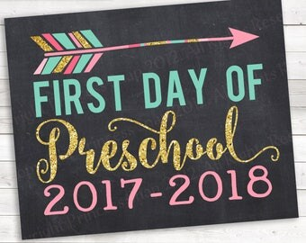 """First Day of Preschool 2017-2018 Photo Prop Pink and Gold, First Day Preschool , 1st Day School, First Day Preschool, Preschool Sign, 8""""x10"""""""