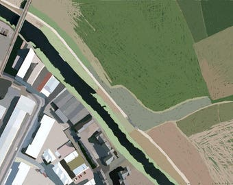 Clapton, Hackney- London Aerial- Walthamstow Marshes, Urban - Digital Map- Fine Art Poster /Print