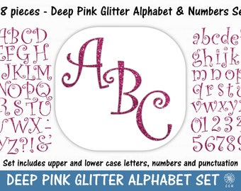 Pink Glitter Digital Alphabet and Numbers Clipart Set - curly font style - Commercial Use - Instant Download