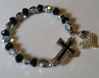 Religious Christian Jewelry Cross Heart Bracelet Religious Jewelry Christian Bling BR26