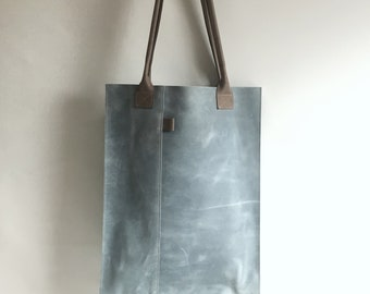 Leather shopper XL misty blue and grey