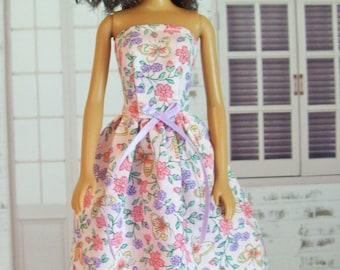 Handmade, Barbie Clothes, Butterflies Dress, Pink Floral, Barbie Dress, Barbie Doll Clothes, Fashion Doll Clothes, Floral Dress, Doll Dress