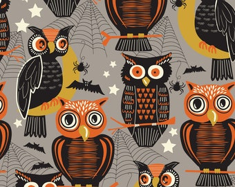 "Halloween Fabric - Owls on Gray -  ""Spooktacular"" by Maude Ashbury for Blend Fabrics. Halloween Owls Bats and Spiders. 100% cotton."