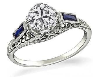 Vintage 0.87ct Diamond Sapphire Engagement Ring