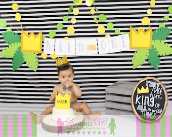 CAKE SMASH Gray Wild One Diaper Cover Optional Bow Tie First Birthday Cake Smash Newborn Photo Prop