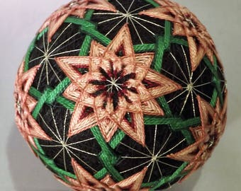Japanese Temari Ball with pink Flowers pentagons and hexigons