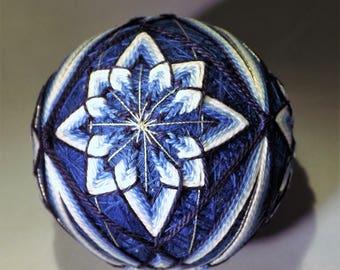 Brand new handmade 4 Blue flowers flowing design Japanese Temari Thread Ball