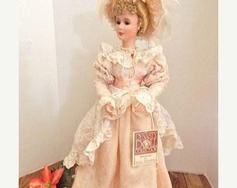 """On Sale Today 20% Off Porcelain Doll Hazel Tertaskian Dynasty Doll Southern Bell 25"""" Victorian Blonde Southern Bells Vintage 1990's Collecti"""