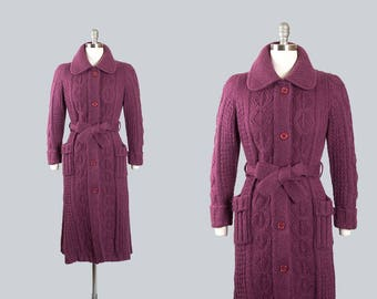 Vintage 1970s Sweater Coat   70s Mohair Cable Knit Purple Belted Long Cardigan Jacket (small)