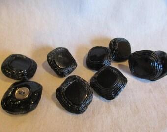Set of (9) Vintage Black Buttons