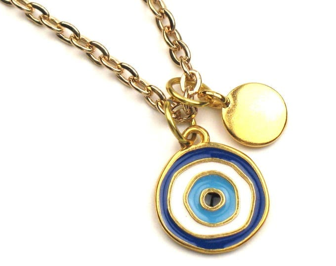 Charm Necklace with Blue & White Evil Eye and Gold Disc Charms on Gold Link Chain