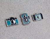 3 camera pin set - Vintage camera pin set - Camera enamel pin