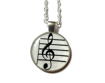 Treble clef necklace - music necklace - treble clef jewelry - gift for musician - music teacher gift - band jewelry - musician jewelry