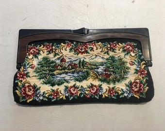 50s 60s Large Floral Tapestry Purse / Clutch