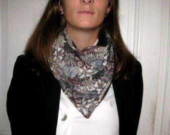 Écharpe bandana femme, tour de cou, snood, en liberty doublé de fourrure synthétique marron