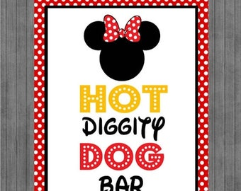 FLASH SALE Minnie Mouse Birthday Sign, Hot Dog Bar, Red, Yellow